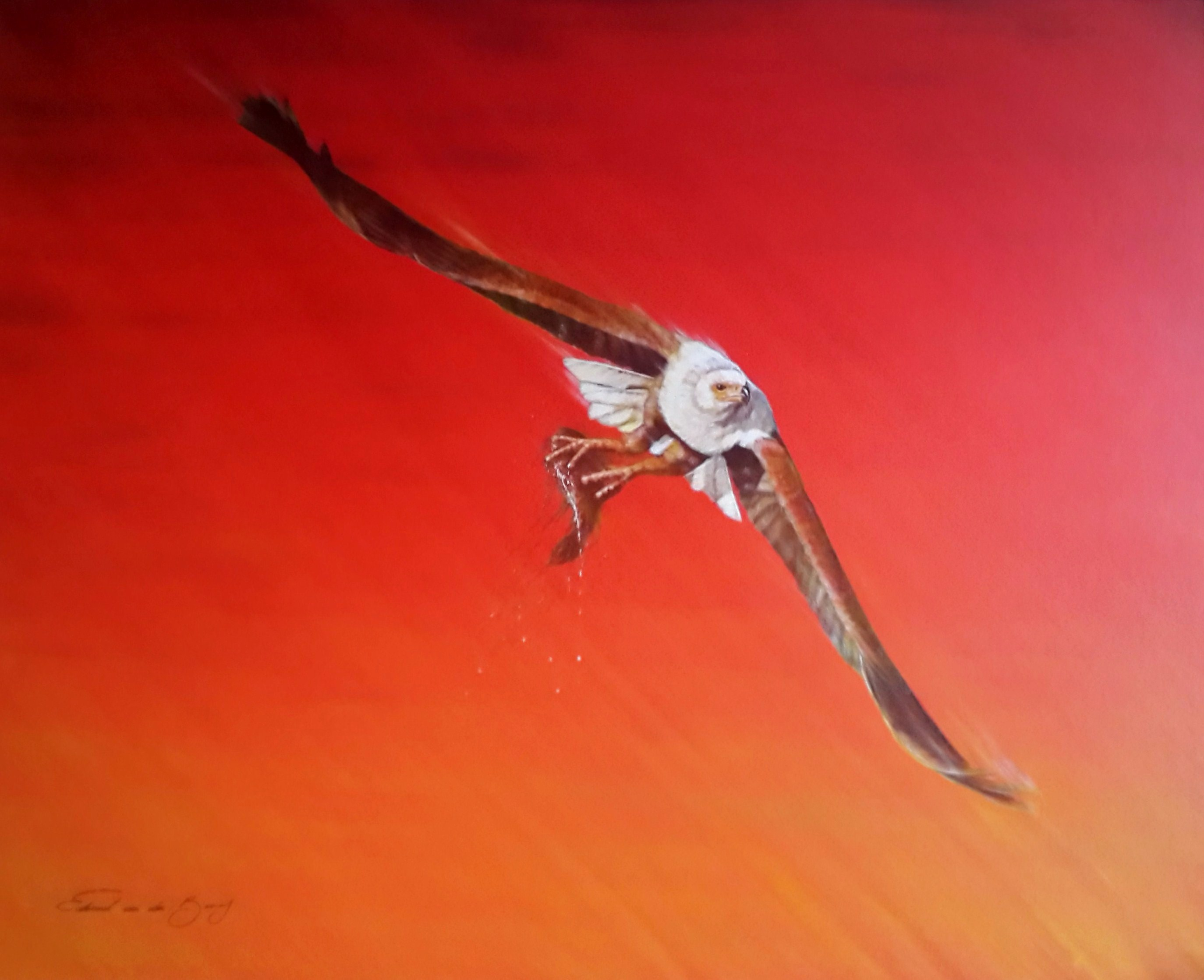 """Crimson Catch"", 100cm x 80cm, Acrylic on Canvas"