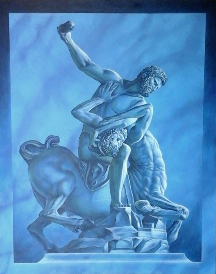"""Hercules and Centaur - Nessuss"", 127cm x 116cm, Acrylic on Canvas (SOLD)"